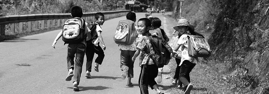 Vietnamese children walking home from school