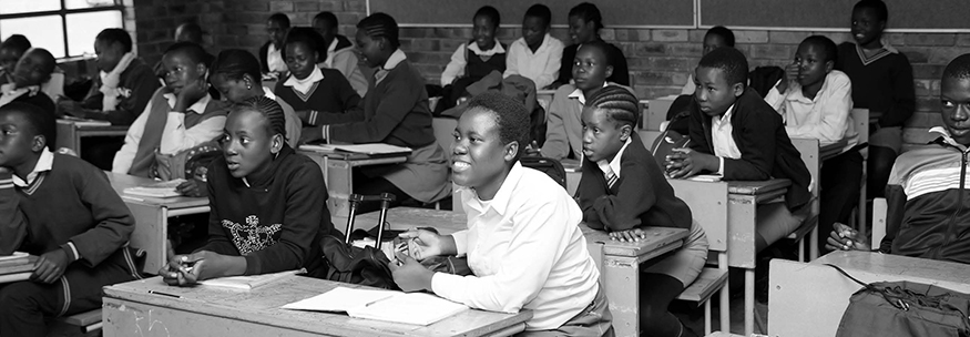 A Group of South African school students in a classroom