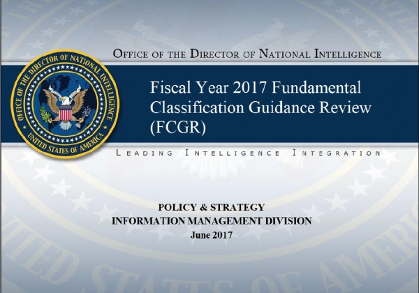 Fundamental Classification Guidance Review (FCGR) for fiscal year (FY) 2017