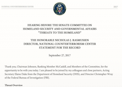 "Hearing Before the Senate Committee on Homeland Security and Governmental Affairs: ""Threats to the Homeland"""