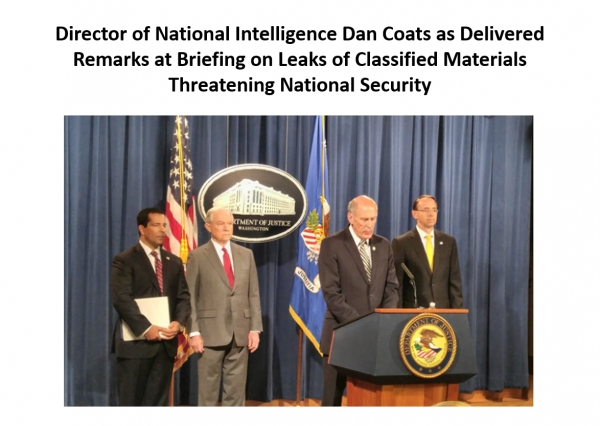 Director of National Intelligence Dan Coats As Delivered Remarks at Briefing