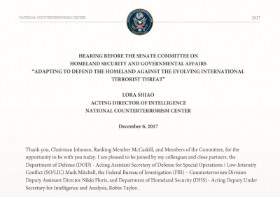 "Hearing Before the Senate Committee on Homeland Security and Governmental Affairs ""Adapting to Defend the Homeland against the Evolving International Terrorist Threat"""