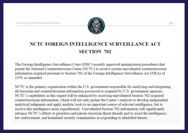 NCTC Factsheet - Foreign Intelligence Surveillance Act Section 702