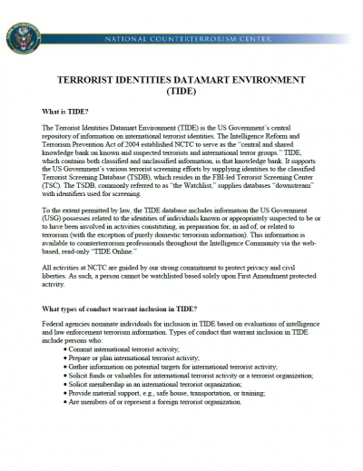 Terrorist Identities Datamart Environment (TIDE) Fact Sheet - Current as of 03 Jun 2019