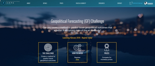 IARPA Announces the Geopolitical Forecasting Challenge to Improve Crowdsourced Forecasts